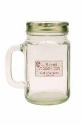 GMO 500 ml Handle Mason Empty Glass Jar with 70mm RO Lid