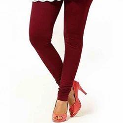 Plain Cotton Ladies Maroon Legging, Size: Medium