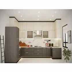 Dark Grey and Off White U Shape Modular Kitchen