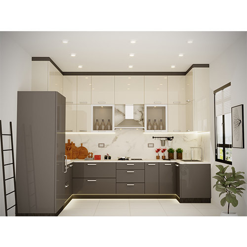 Dark Grey And Off White U Shape Modular Kitchen At Rs 99999 Onwards Sector 77 Greater Noida Id 20246339730