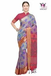 Ikkat Silk Nylon Soft Silk Saree