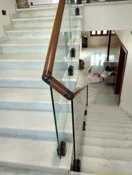 Aluminium Wooden Finished Aluminum Stair Railings