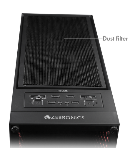 Full Tower Black HELIUS Computer Case By Zebronics, Size