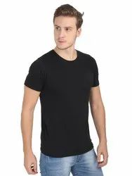 Mens Cotton Round Neck Black T Shirt