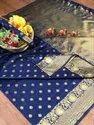 Banarasi Silk Casual Wear Blue Saree With Blouse Piece
