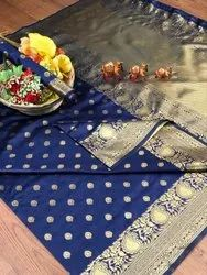 Banarasi Silk Casual Wear Blue Saree With Blouse Piece