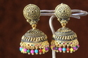 Black Oxidized Meenakari Golden Jhumka