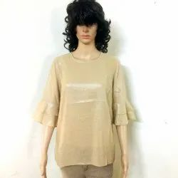 Cotton Plain Bell Sleeves Top