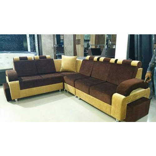 Solid Wood And Velvet L Shaped Corner Sofa, Rs 10000 /set | ID ...