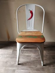 Handicrafts Village Iron And Wood Mirchi Tolix Chair, Size: 14*14*18, for Cafe