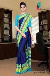Dark Blue And Turquoise Italian Crepe Silk Institution Uniform Saree for Teacher Staff
