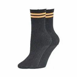 Calf Length Black School Cotton Socks
