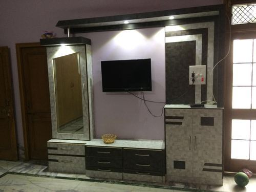 Living Room Wood Frame Tv Wall Unit Rs