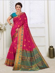 Exclusive Designer Cotton Silk Weaving Saree With Blouse Piece