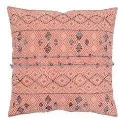 Printed Embroidered Diamond Pattern Cotton Cushion Cover