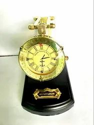 Nautical Style Table Top Folding Yellow Dial Collectible Watch with Wooden Base Chritsmas Gift