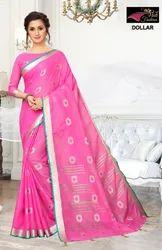 Dollar Pink Pure Lilan  Cotton Saree
