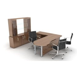 Brown 18 Inch Wooden Office Furniture Set