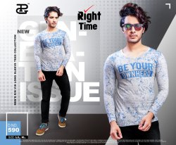PG Printed Right Time Mens Casual T Shirts