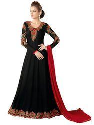 313ecd7168 Regular Wear Resham Embroidery & Lace Stone Work Women's Party Wear Black  Anarkali Sui.