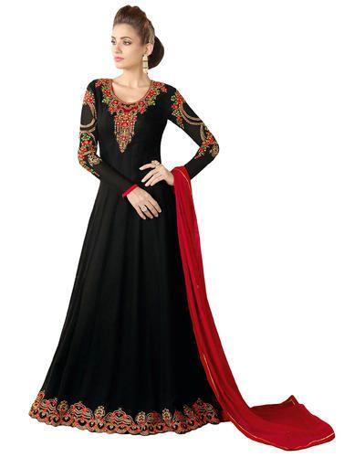 29ef899e3d4 Regular Wear Resham Embroidery   Lace Stone Work Women  s Party Wear Black  Anarkali Suits
