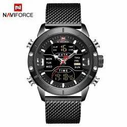 Round Luxury(Premium) 9153S-BB Naviforce LED Digital Mens Wrist Watch