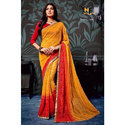 Casual Wear Ladies Red And Yellow Saree