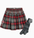 Grey Check Skater Skirt With Tights Set