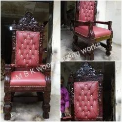 MBK Walnut Maharaja Teakwood Chair