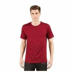 Mens Maroon Plain Round Neck T-Shirt