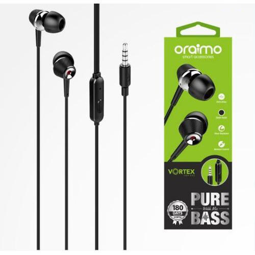 0e54a826fdb Oraimo Black Mobile Earphone, Rs 399 /piece, Swastik Telecom | ID ...