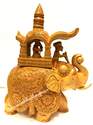 WOODEN ELEPHANT HAND-CARVED 11 INCH AMBABARI