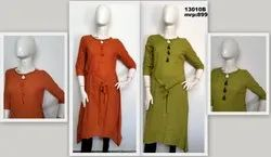 13010 Handloom Kurta With Belt Tie Up And Embroidery On Neck