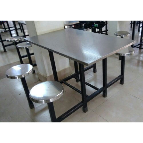 92013b6c21 Silver Stainless Steel Canteen Dining Table Set, Shape: Rectangular ...