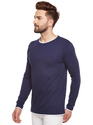 Men Full Sleeve Solid Dark Blue Round Neck  T-Shirt