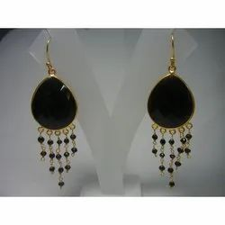 Black Onyx Bezel Set Dangle Earring