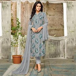 Grey Party Wear Straight Fit Salwar Suit Material