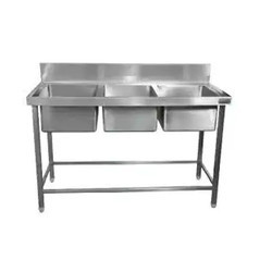 Commercial Kitchen Three Sink Unit