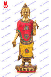 Lord Buddha Standing W/ Red / Yellow/ Blue Stone Statue
