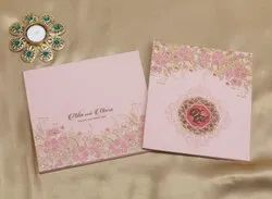Cardboard Book Style Floral Pattern Exclusive Wedding Invitation Card Design In Pastel Pink, Size: 21cm X 23.5cm