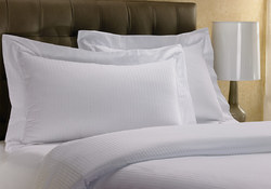 White Reverse Satin Stripes Pillow Covers for Hotels