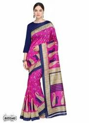 Pink Colored Poly Silk Casual Saree