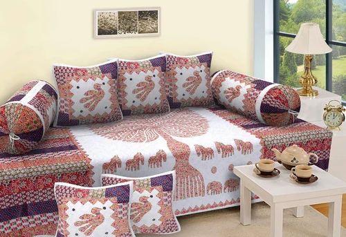 Bird Print Barmeri Diwan Bedsheet