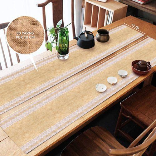 Burlap Lace Hessian Table Runner Rustic Natural Jute Both Side Lace- 108 X 12 Inch