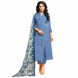 Rajnandini Blue Chanderi Silk Plain Semi-Stitched Dress Material With Printed Dupatta