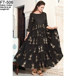 FT Black Gold Printed Gown