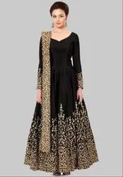 Black Silk Heavy Anarkali Suit