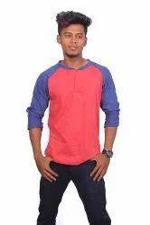 Red Melange Mens Henley Neck Full Sleeves T Shirts