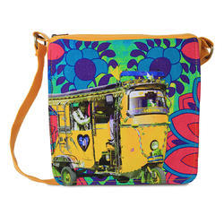 Neon Yellow Taxi Canvas and Faux Leather Sling Bag