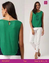 Ladies Blouses & Tops Green Cotton O Neck Tops Woman Blouse Sleeveless